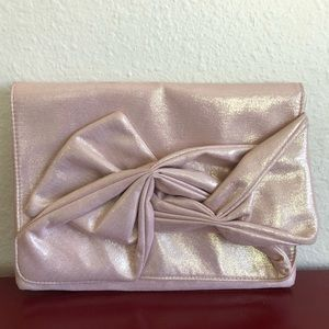 ASOS Dusty Rose Gold Fold Over Large Bow Clutch